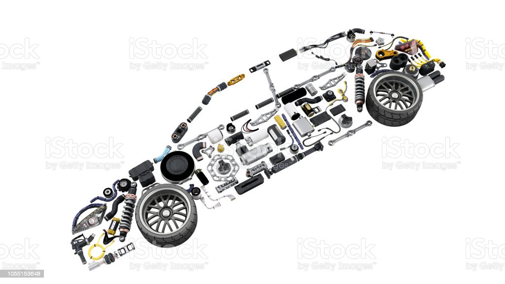 car silhouette made of details 3d render on white no shadow stock photo