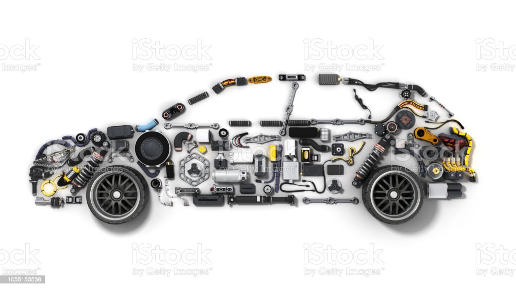 car silhouette made of details 3d render on white stock photo