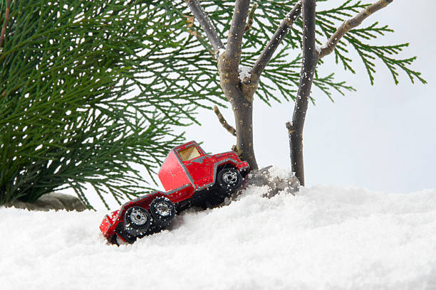 Car snow driving accident stock photo