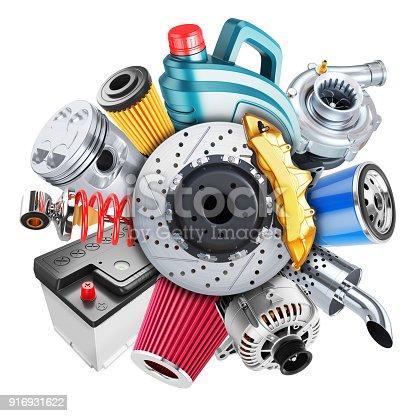 istock Car spare parts logo. 3d concept 916931622