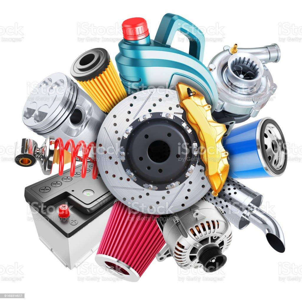Car spare parts logo. 3d concept stock photo