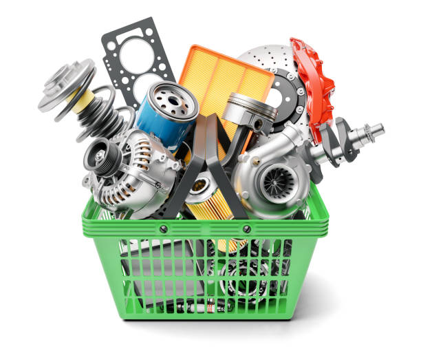 Car spares parts in market basket isolated on white background Car spares parts in market basket isolated on white background 3d machine part stock pictures, royalty-free photos & images