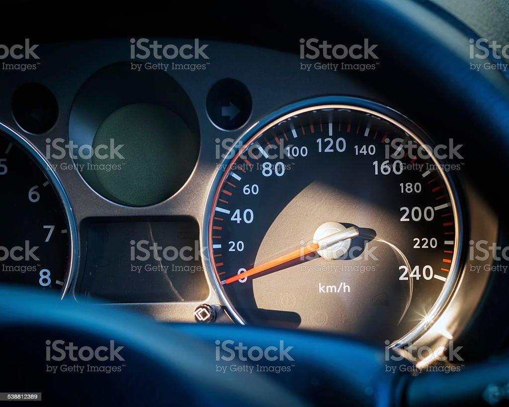 Car speed meter close up stock photo