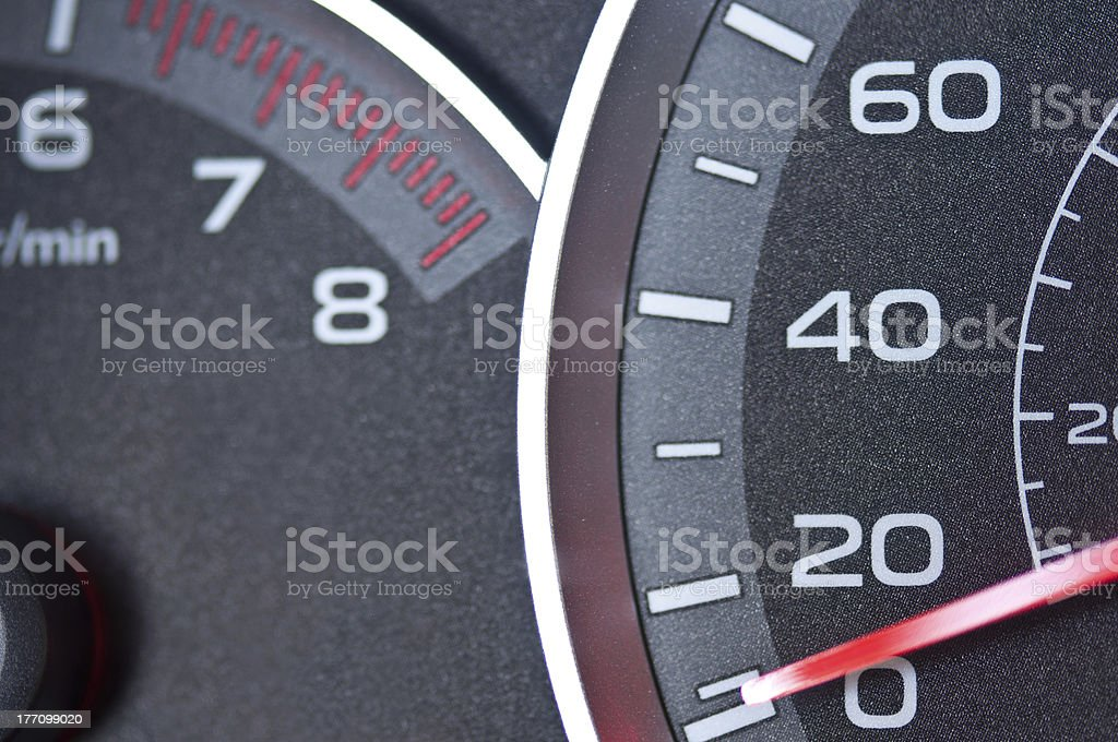 Car speedometer and tachometer stock photo