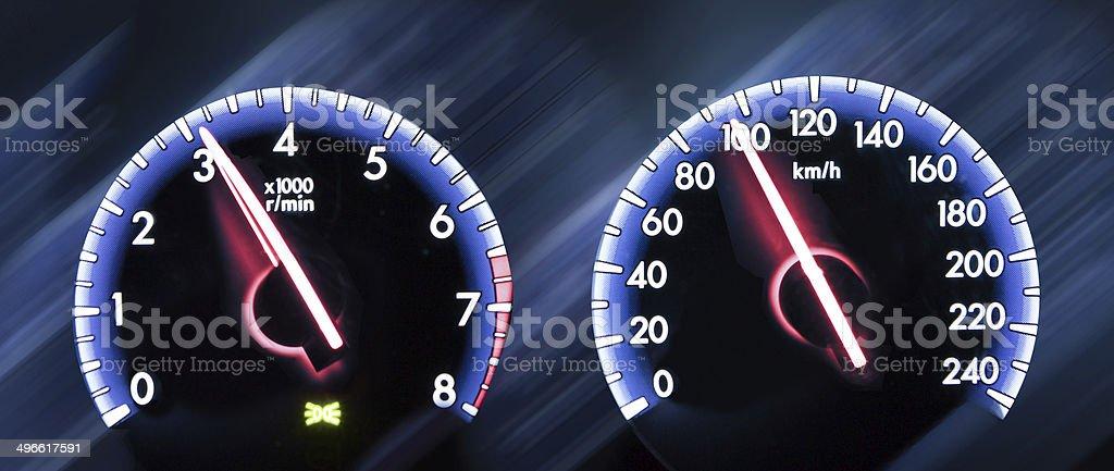 Car Speedometer on dark background royalty-free stock photo