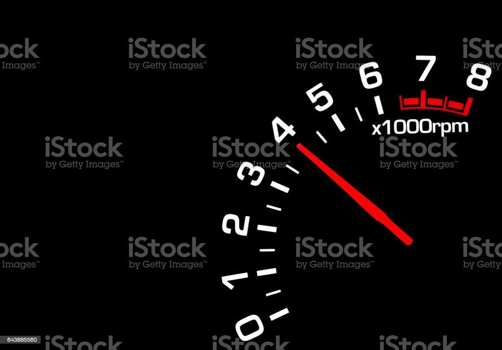 car speedometer tachometer on black background stock photo