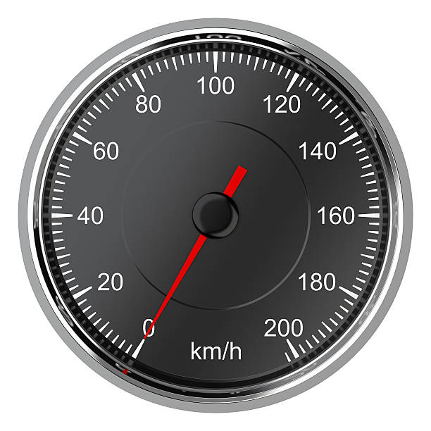 Car speedometer with arrow at zero. stock photo
