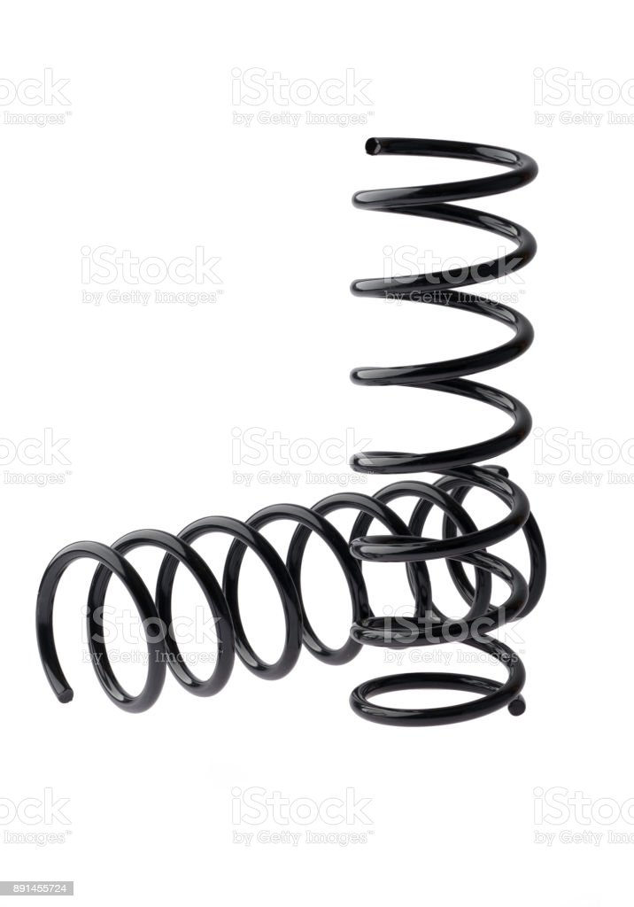 Car springs, shock absorber isolates on white background stock photo