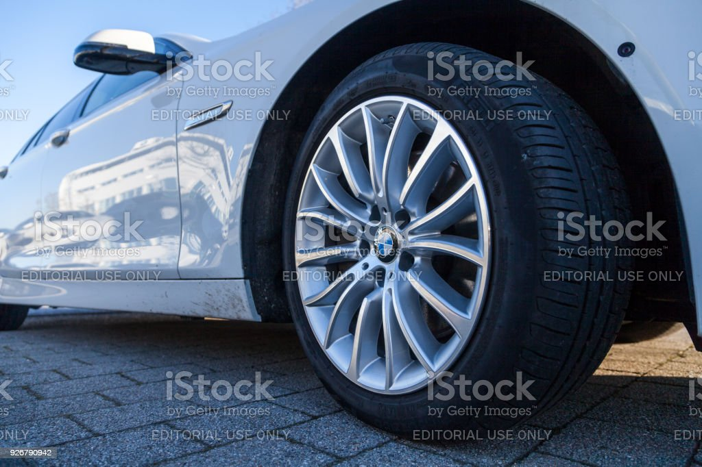 BMW car stands on a parking lot. stock photo
