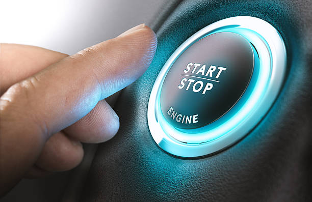 Car Start and Stop Button stock photo