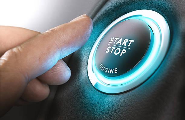 Car Start and Stop Button - foto de acervo