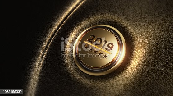 istock Car Start Button On Dashboard - New Year Concept 1065155332