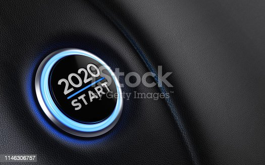 istock 2020 Car Start Button On Dashboard;  New Year Concept 1146306757