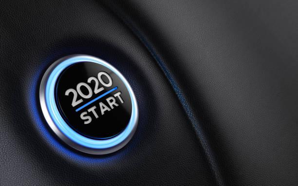 2020 auto start button auf dem dashboard;  neujahrskonzept - 2020 stock-fotos und bilder
