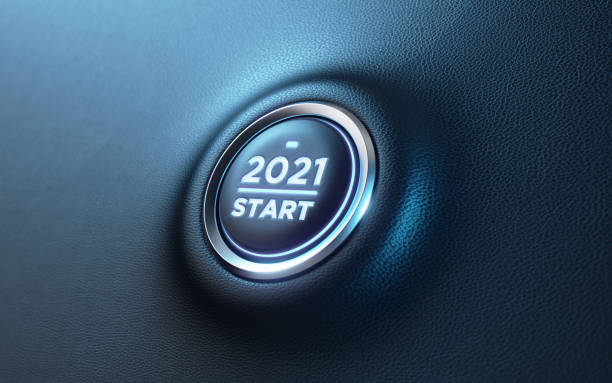 2021 Car Start Button On Dashboard;  New Year Concept 2021 start button on dashboard. Horizontal composition with copy space and selective focus. New year concept. 2021 stock pictures, royalty-free photos & images