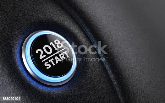istock 2018 Car Start Button On Dashboard  New Year Concept 888095404