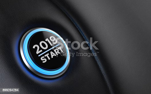 istock 2019 Car Start Button On Dashboard;  New Year Concept 899264284