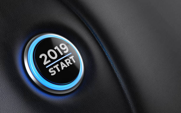2019 Car Start Button On Dashboard;  New Year Concept 2019 start button on dashboard. Horizontal composition with copy space and selective focus. New year concept. 2019 stock pictures, royalty-free photos & images