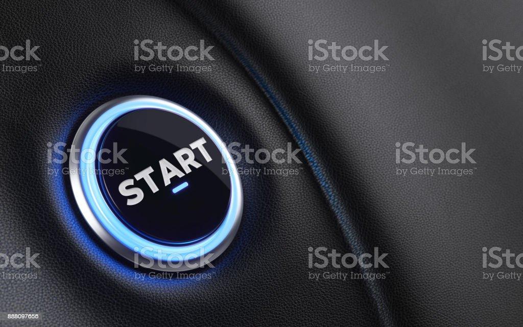 Car Start Button On Dashboard stock photo
