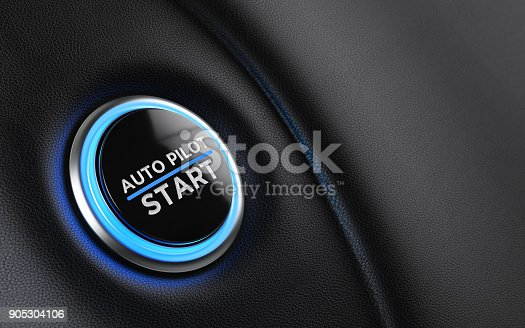 Car start button on dashboard. Auto pilot writes on push button. Horizontal composition with copy space and selective focus.