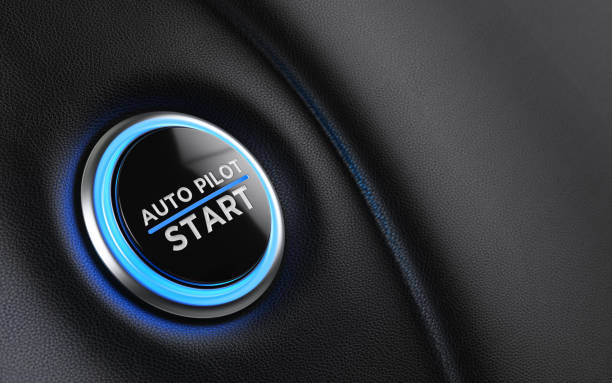 Car Start Button On Dashboard Car start button on dashboard. Auto pilot writes on push button. Horizontal composition with copy space and selective focus. automatic stock pictures, royalty-free photos & images