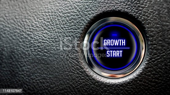 growth message on automobile ignition button with large copy space