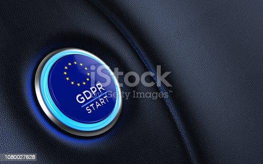 istock Car Start Button Textured With European Union Flag On Dashboard 1080027628