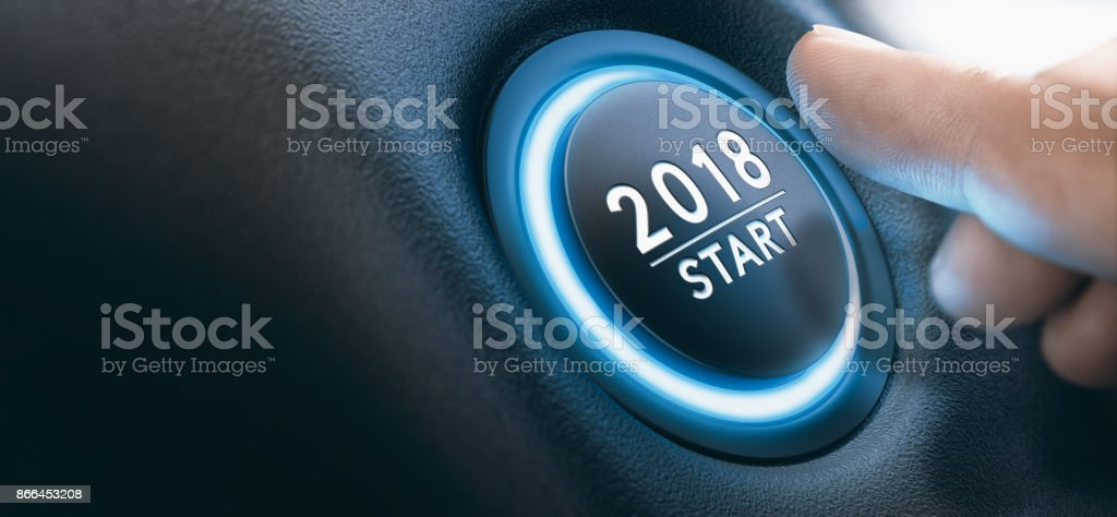 2018 Car Start Button, Two Thousand Eighteen Background. stock photo