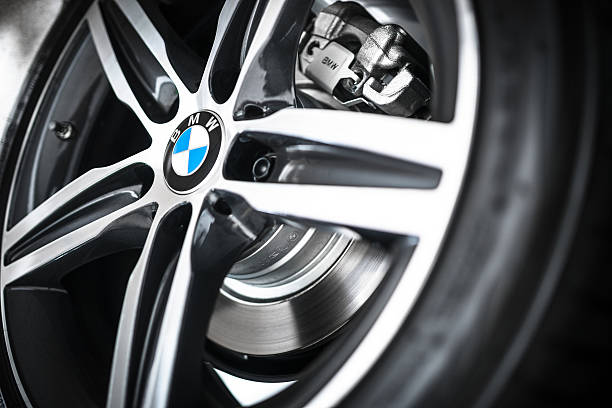 Car steel wheels of a new Bmw coupe stock photo