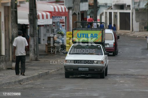 salvador, bahia / brazil - october 5, 2006: vehicle used to advertise sound is seen in the neighborhood of Sao Cristovao in the city of Salvador.