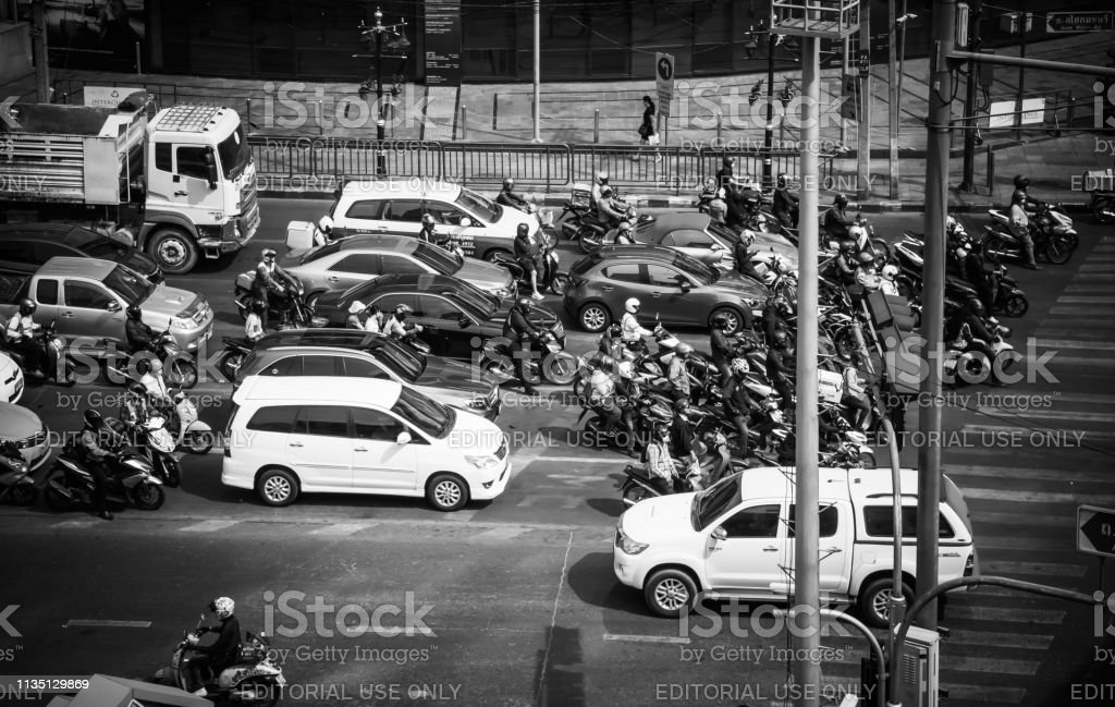 Car stop red light at the Asok Montri intersection, Sukhumvit road...