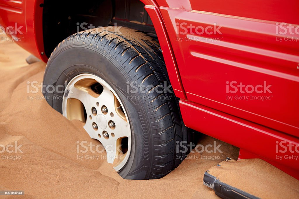 Car Stuck in the Sand stock photo