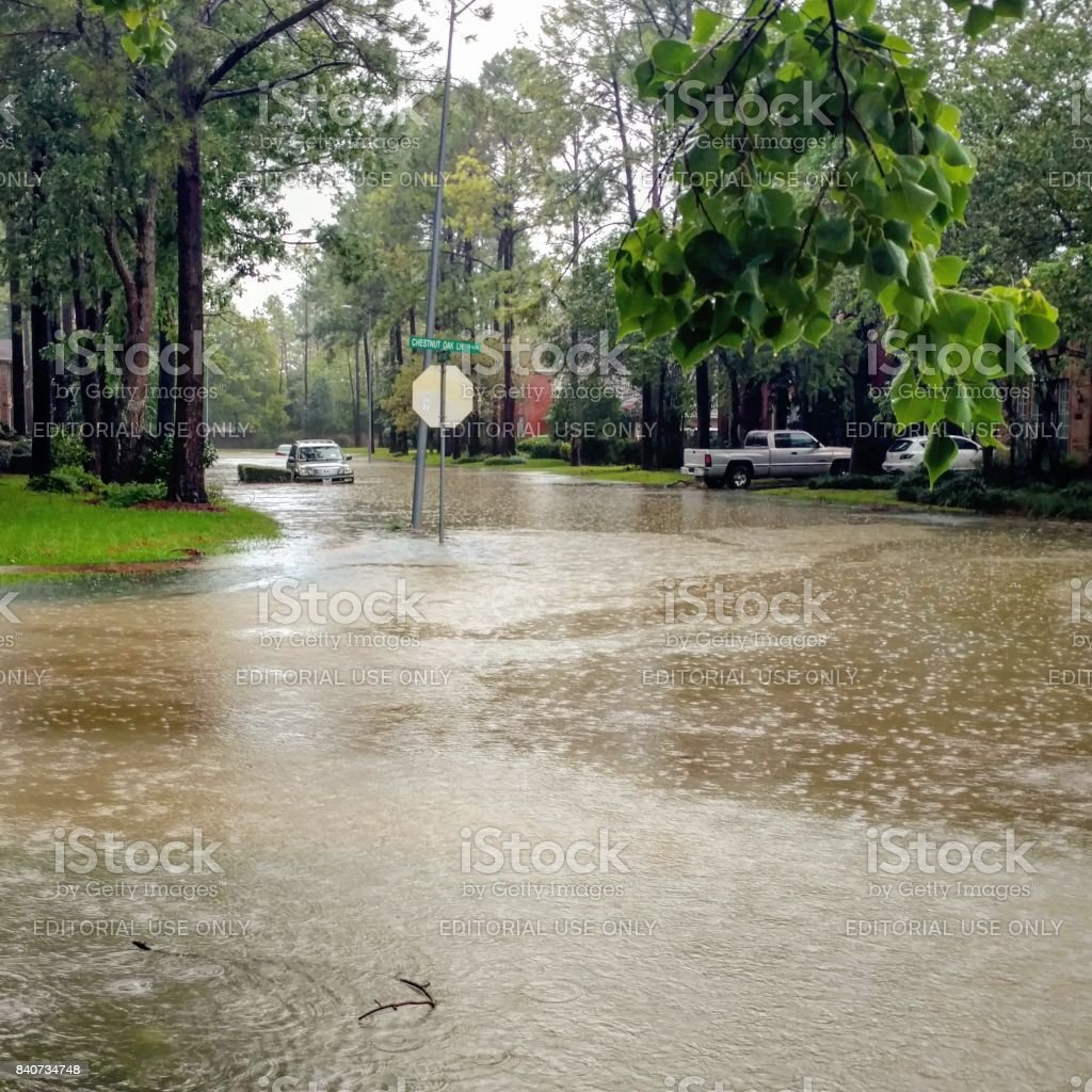 Car Submerged in Floodwaters from Hurricane Harvey stock photo