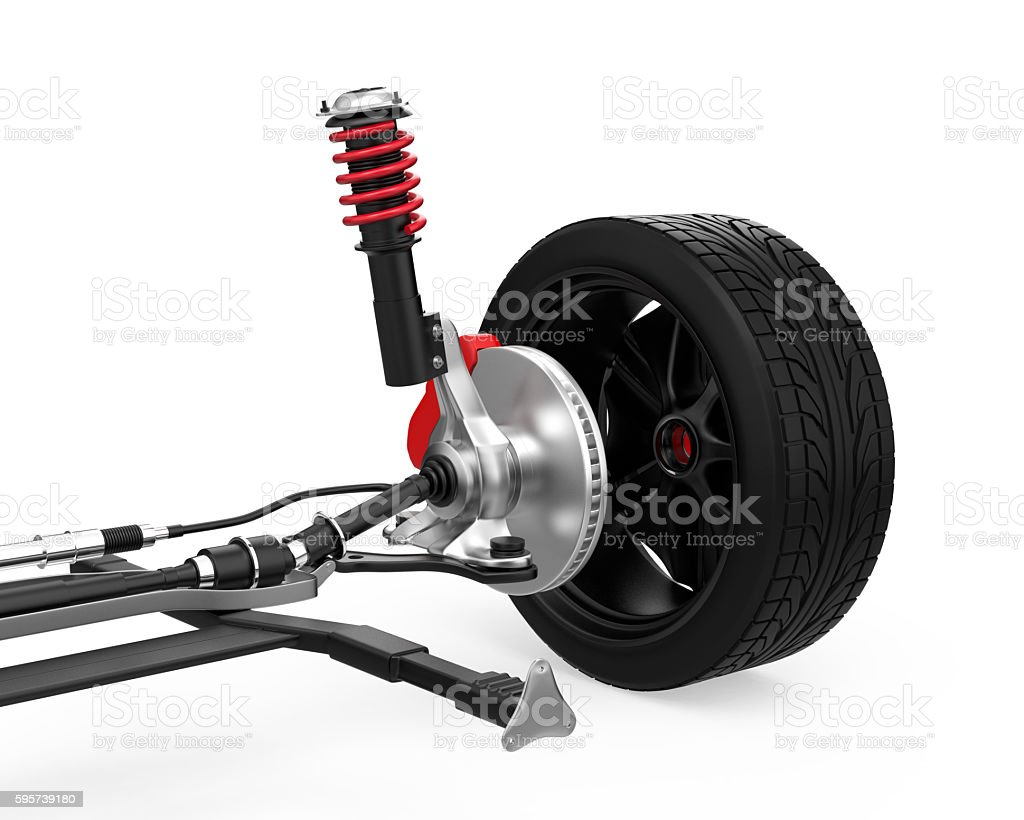 Car suspension isolated on white background stock photo