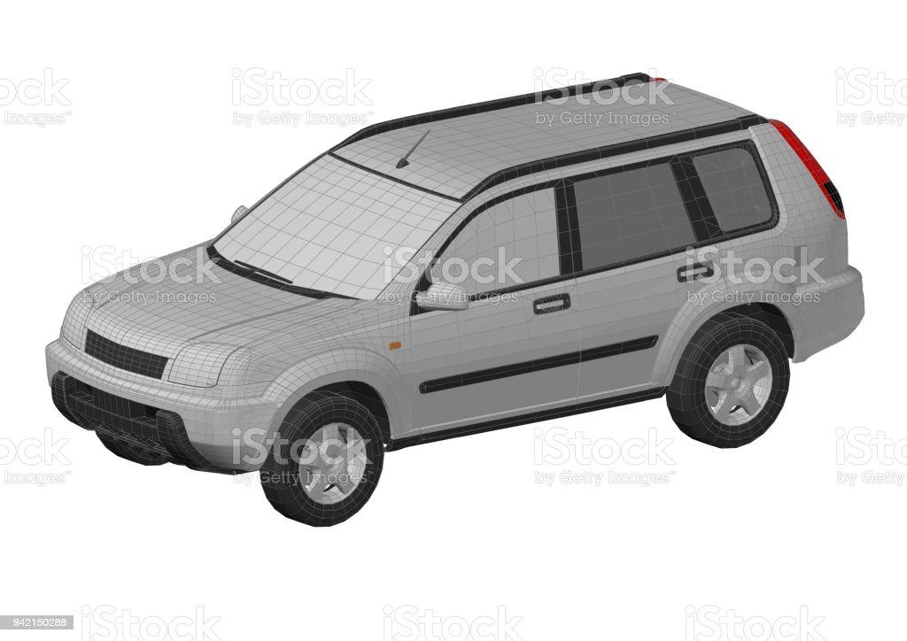 Car SUV 3D blueprint - isolated stock photo