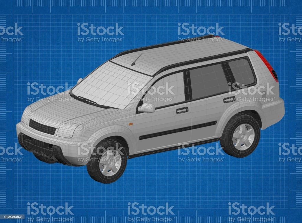 Car SUV 3D blueprint stock photo