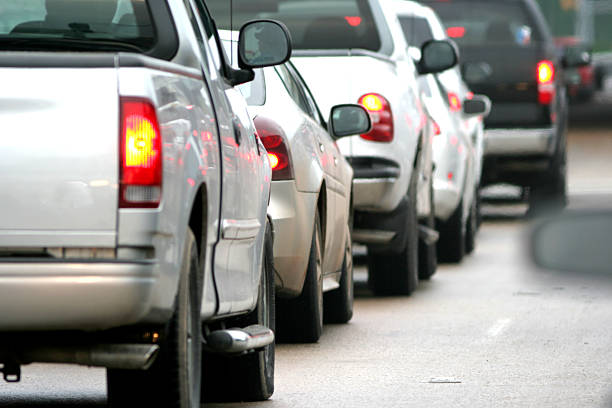Car Tail lights in Traffic the view while sitting in rush hour traffic in the morningPlease see my similar photos: bumper stock pictures, royalty-free photos & images