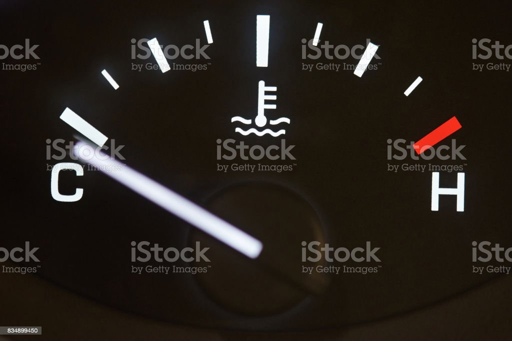 Car temperature coolant meter stock photo