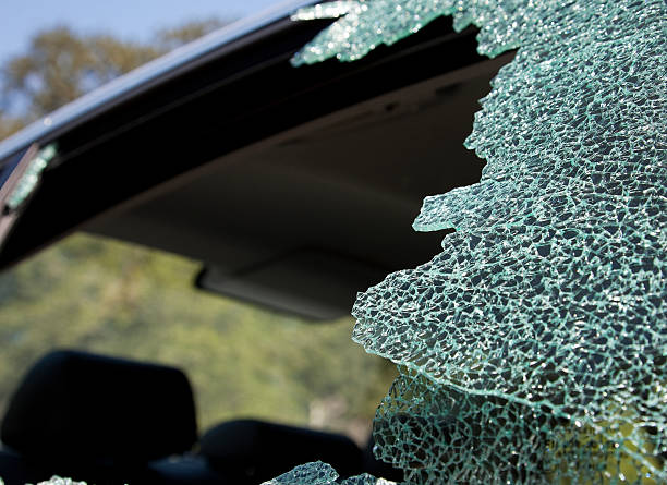 Car theft, car window smashed and shattered stock photo