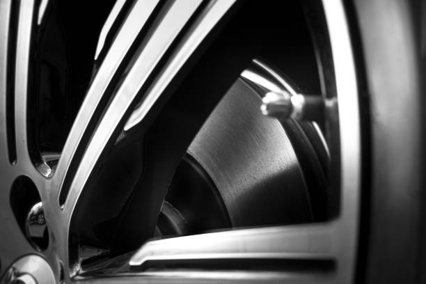 Car tire and rim stock photo