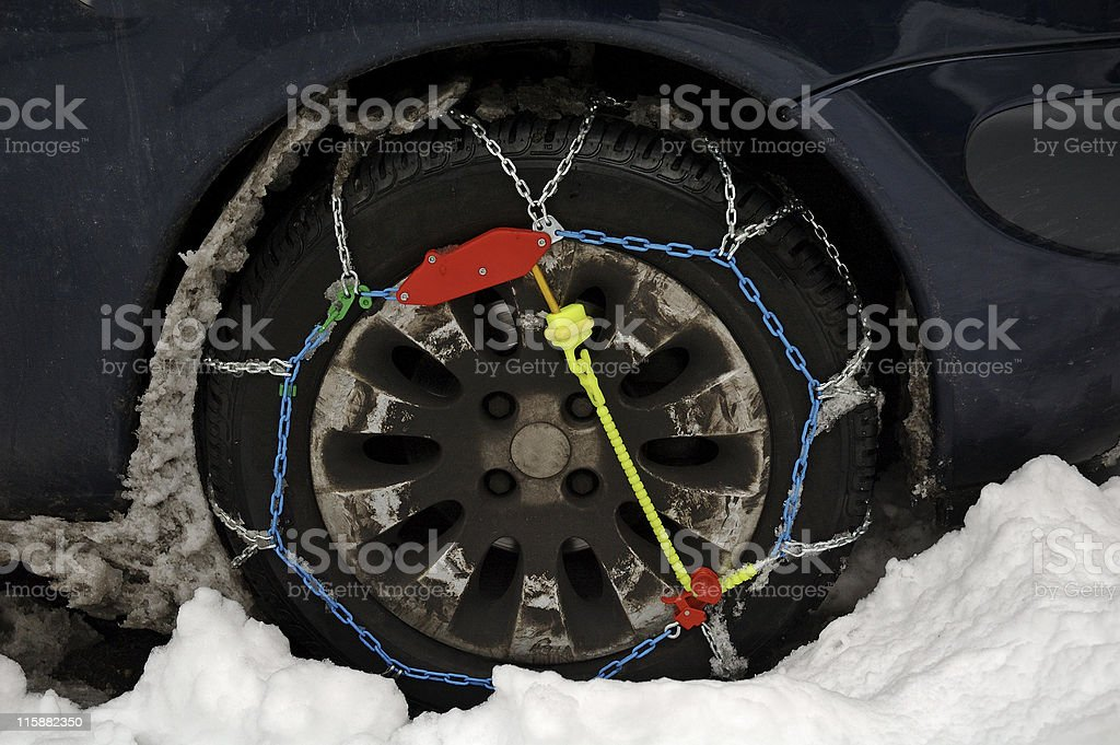 Car tire chains royalty-free stock photo