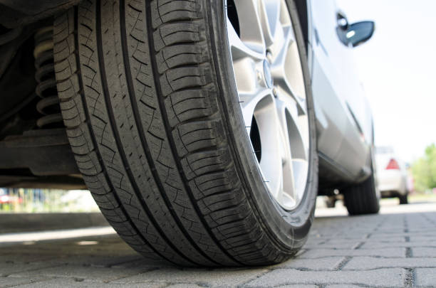 Car tire close up, parked car low angle shot – zdjęcie