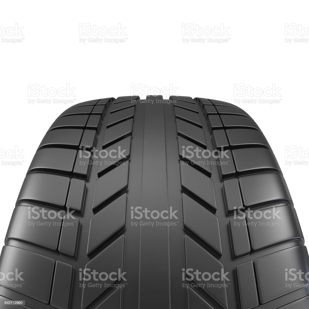 Car tire close-up, on white background. 3d illustration stock photo