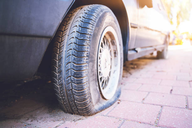 Car tire cracking, Old tire wheel of car stock photo