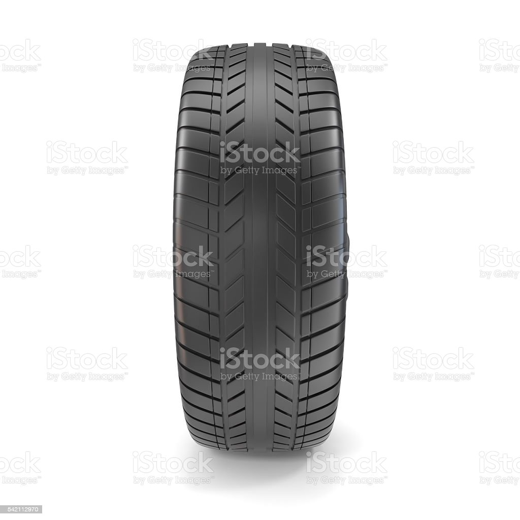Car Tire isolated on white background with shadow. 3d illustration stock photo