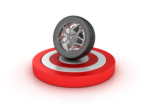 Car Tire on Target - White Background - 3D Rendering