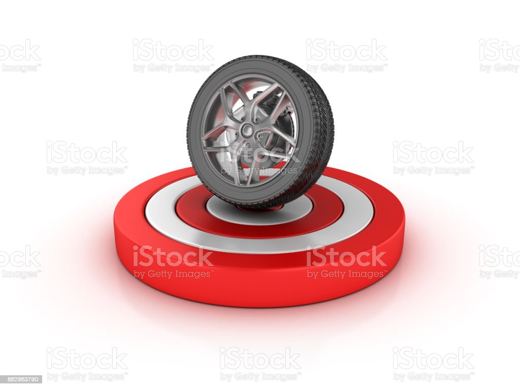 Car Tire on Target - 3D Rendering stock photo
