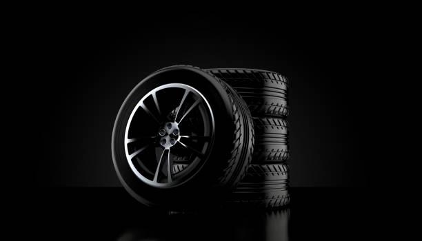 bil däck set - wheel black background bildbanksfoton och bilder