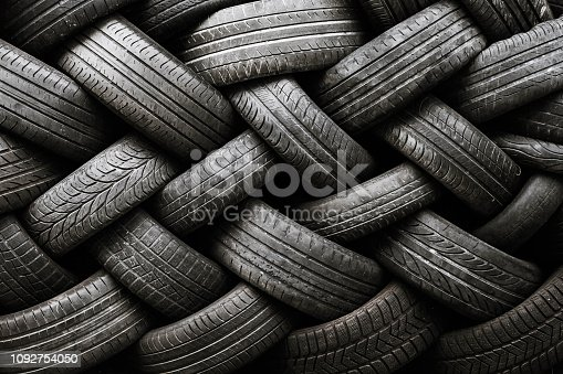 Texture of a pile of used car tires