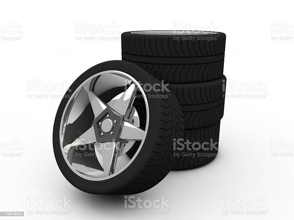 Car tire with rim stock photo